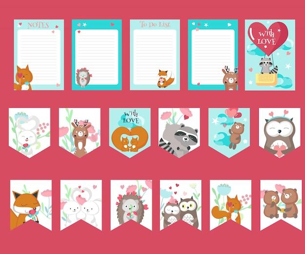 かわいい動物と愛カードのベクトルを設定 Premiumベクター