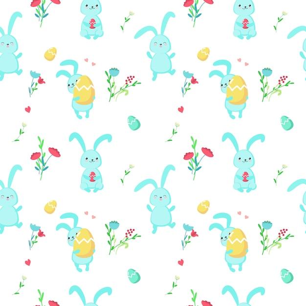 かわいいイースターのウサギとシームレスなパターンベクトル Premiumベクター
