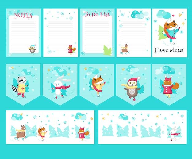 Векторный набор карточек с милыми животными на коньках Premium векторы