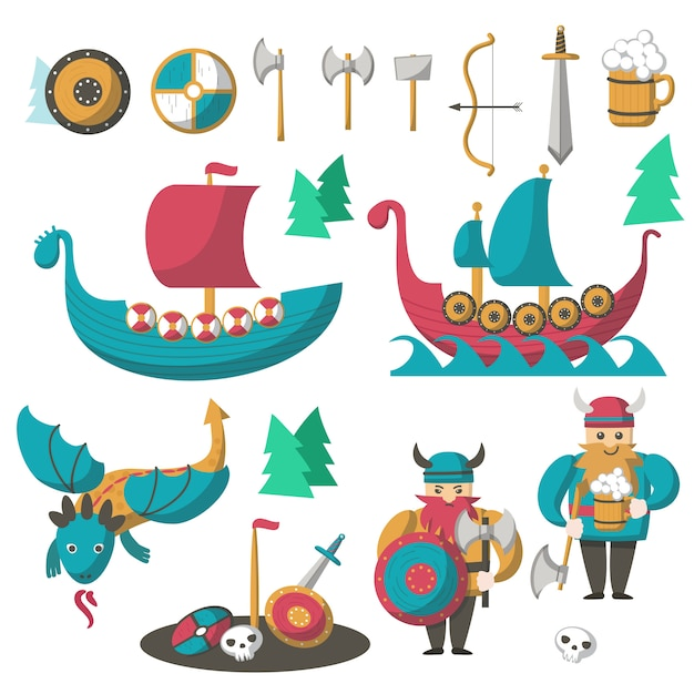 Векторные плоские викинги, летящий дракон и корабли Premium векторы
