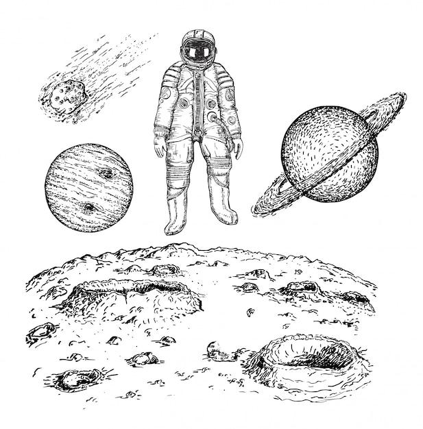 Эскиз пространства значок набор иллюстрации Premium векторы