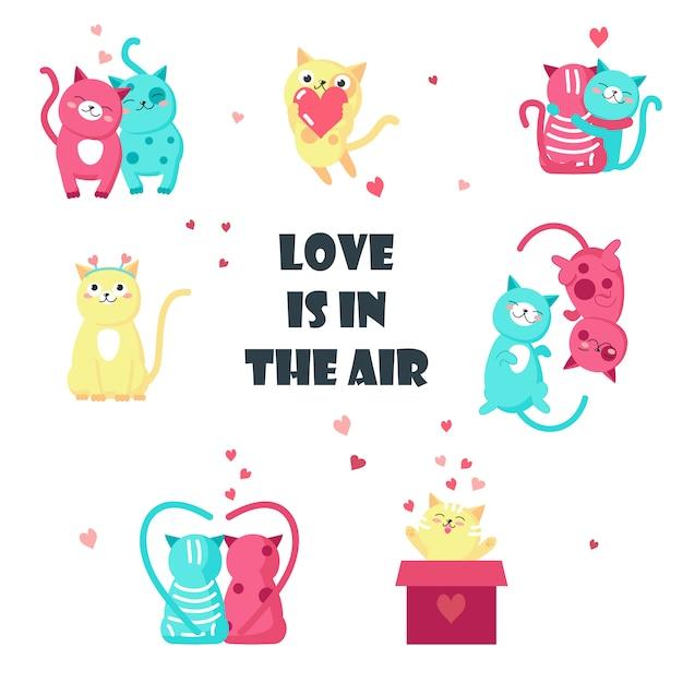 Симпатичные кошки в любви изолированных иллюстрация Premium векторы
