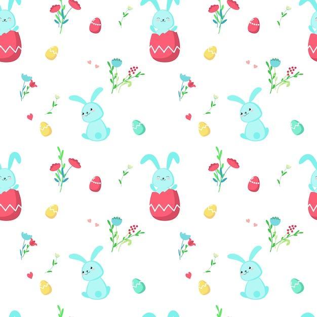 かわいいイースターのウサギとのシームレスなパターン Premiumベクター