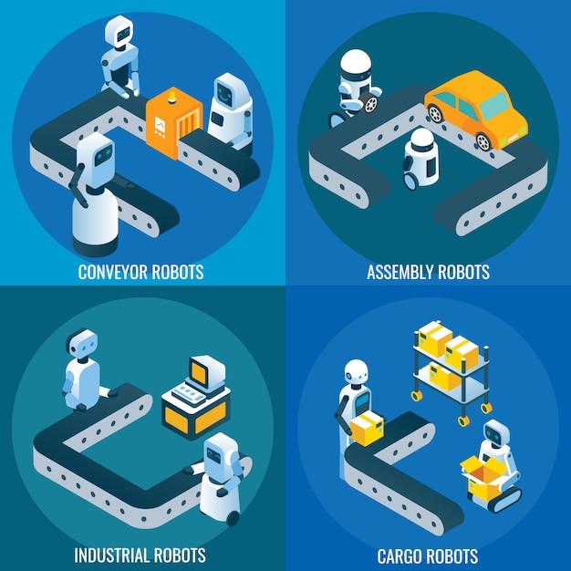 産業用ロボット等尺性ポスターセット Premiumベクター