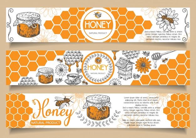 Пчела натуральный мед рисованной горизонтальный баннер Premium векторы