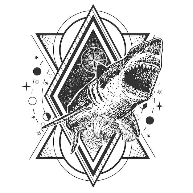 Тату с геометрической акулой Premium векторы