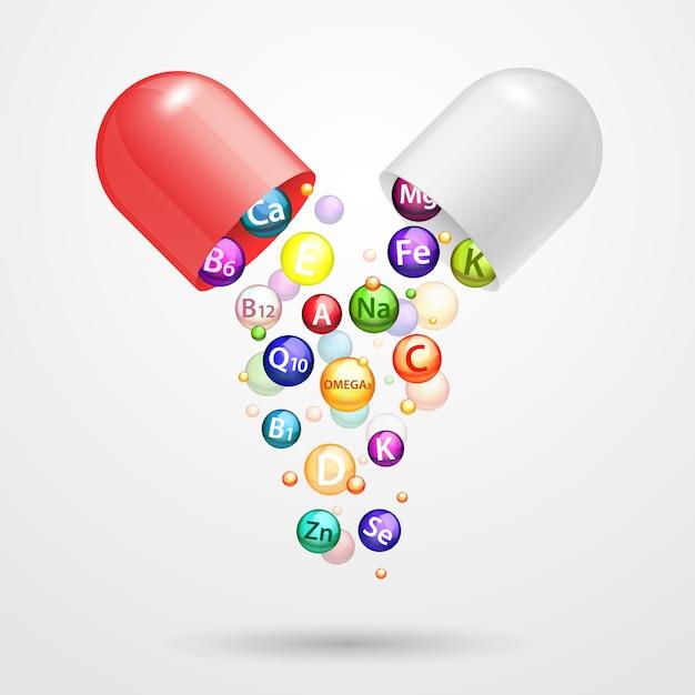 Витаминный комплекс фармацевтической капсулы вектор реалистичные иллюстрации Premium векторы
