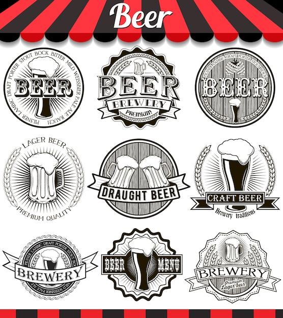 Урожай крафт-пивоваренный завод эмблемы, этикетки и элементы дизайна Premium векторы