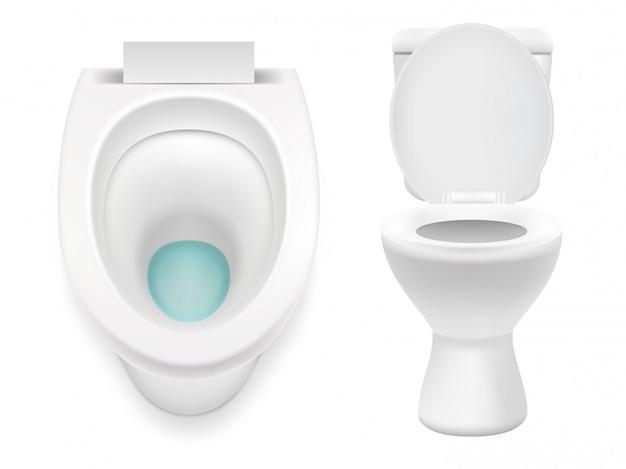 Белый туалет изолированные вектор реалистичные иллюстрации Premium векторы