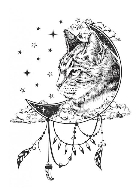 Бохо кошка иллюстрация Premium векторы