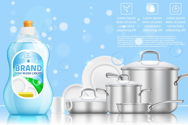 食器洗い広告の現実的なテンプレート Premiumベクター