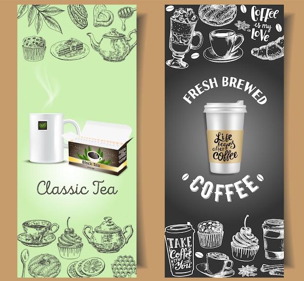 Набор шаблонов баннеров на вынос для кофе и чая Premium векторы
