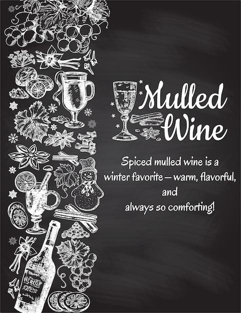 手描きのグリューワインのポスター。ワイングラスと黒と白のスケッチ。黒の背景にレトロなビンテージスタイルのメニューカードデザインテンプレート Premiumベクター
