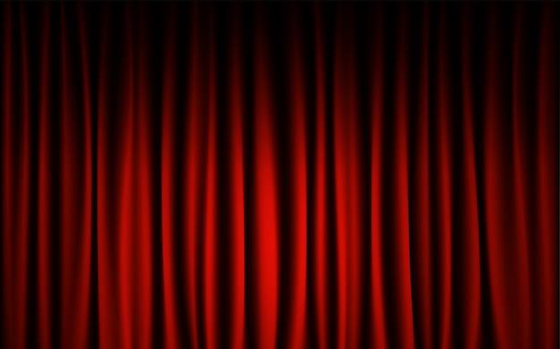 赤いカーテンステージコンサートショーの背景。抽象的な背景の壁紙のコンセプトです。 Premiumベクター