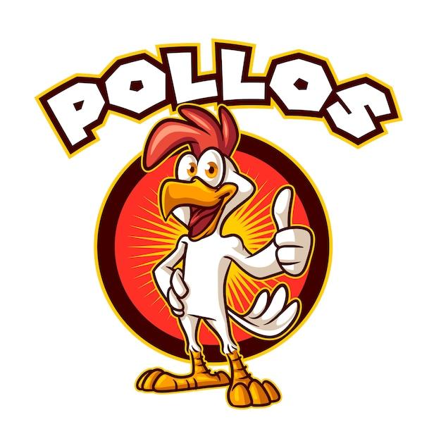 Мультяшный цыпленок позирует большой палец вверх талисман Premium векторы