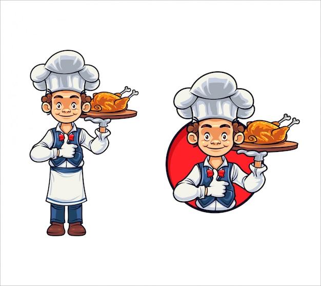 Мультяшный шеф-повар с курицей и барбекю Premium векторы