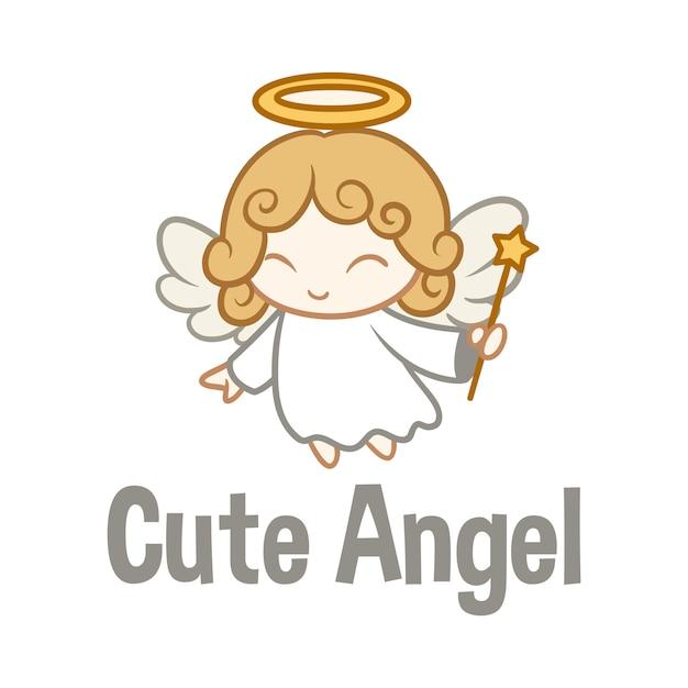 漫画かわいい天使キャラクターマスコットロゴ Premiumベクター