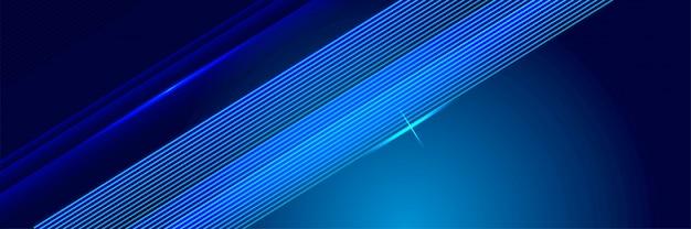 ブルーテクノロジー輝く線の背景 Premiumベクター