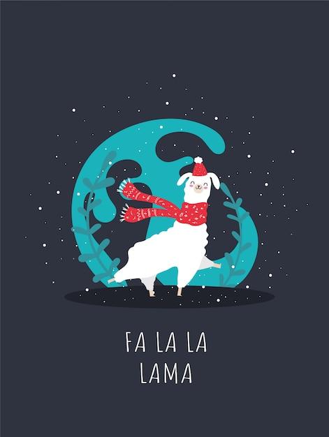 雪と多くの詳細を持つラマ。面白いアルパカ鹿。ファラララマ。 Premiumベクター