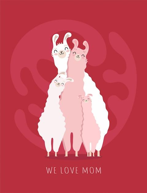 Счастливая картина дня матери с семьей ламы Premium векторы