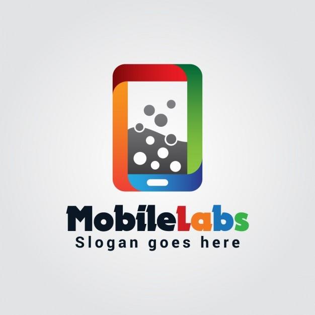 カラフルなモバイル研究所ロゴ 無料ベクター