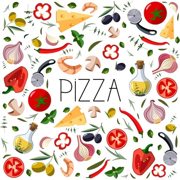 ピザボックスのバナー。イタリアのピザのための伝統的なさまざまな食材 Premiumベクター