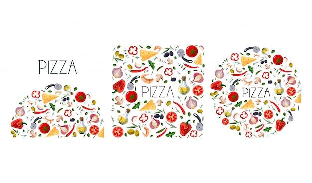 Набор для пиццы с традиционными различными ингредиентами для пиццы Premium векторы