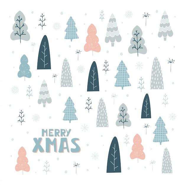 Ручной обращается карты с елки и надписи веселого рождества Premium векторы