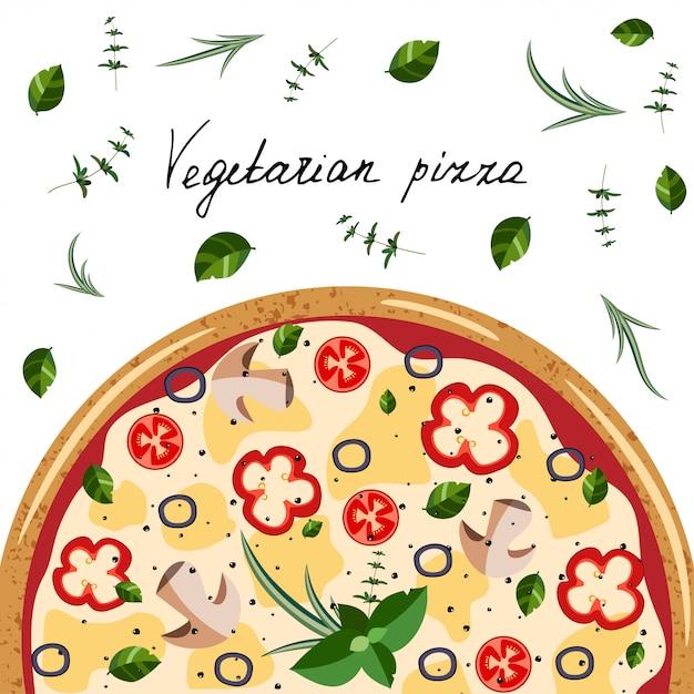 ピザボックスのバナー。全体のベジタリアンピザ、ハーブ、手の手紙の背景。 Premiumベクター
