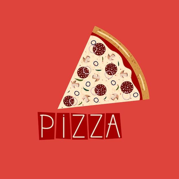 ピザボックスのバナー。スライスペパロニピザの背景。 Premiumベクター