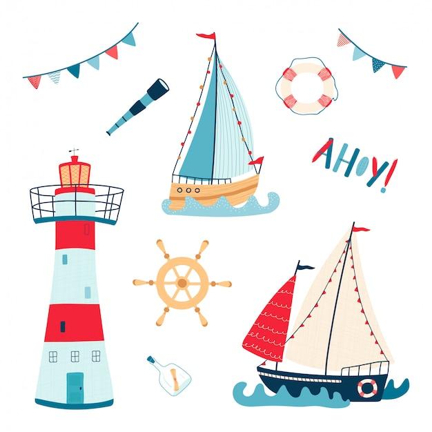Симпатичные морская коллекция с парусником, маяк, спасательный круг, телескоп, руль на белом фоне Premium векторы