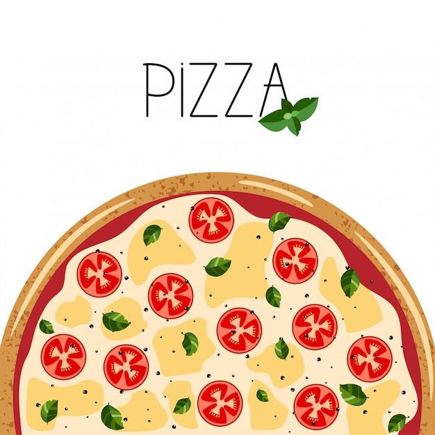 ピザボックスのバナー。全体マルガリータピザ、バジルの背景。 Premiumベクター