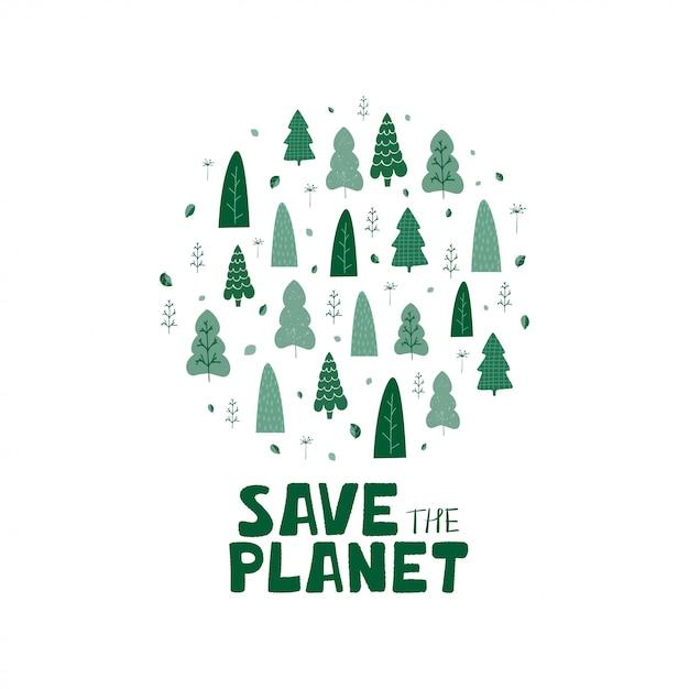 緑の木々、葉と手のレタリングのイラストは漫画のスタイルで地球を救います。 Premiumベクター
