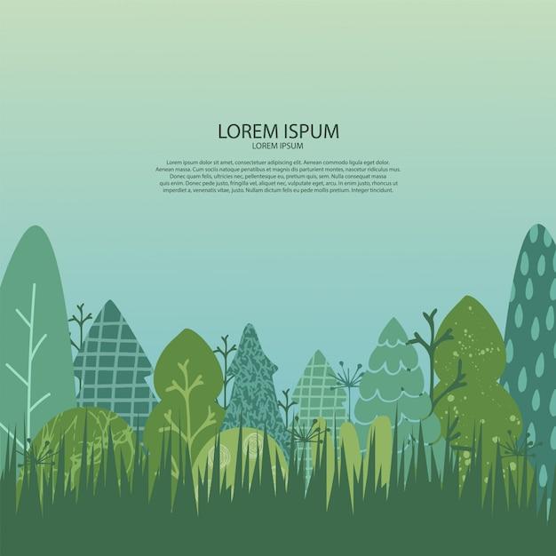 自然の風景との背景。木、草、空の図 Premiumベクター