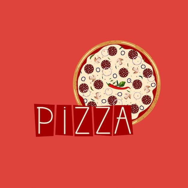 Баннер для коробки для пиццы. фон с целым пепперони пицца. Premium векторы