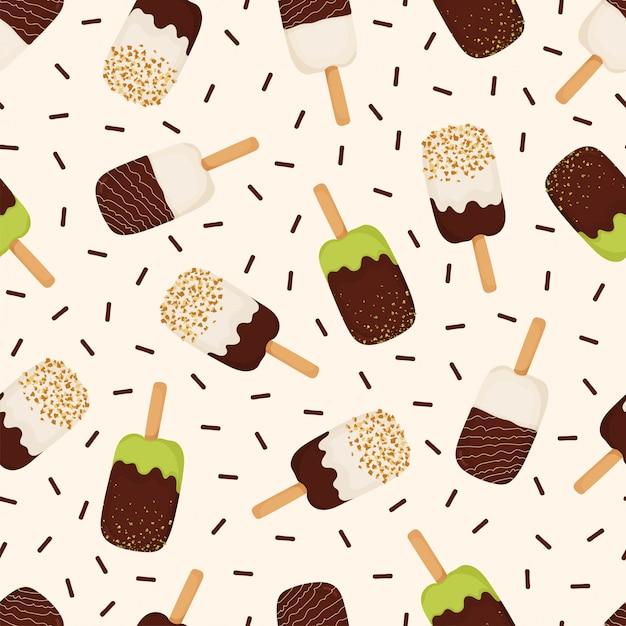 チョコレート、ナッツ、ピスタチオとアイスクリームのシームレスパターン Premiumベクター