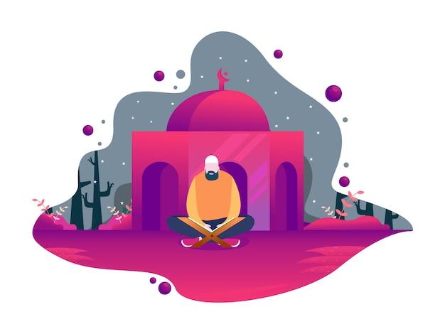 Счастливый рамадан мубарак с характером людей Premium векторы