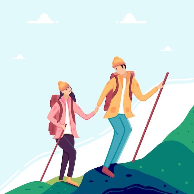 Пара мужчина и женщина, походы в горы. Premium векторы