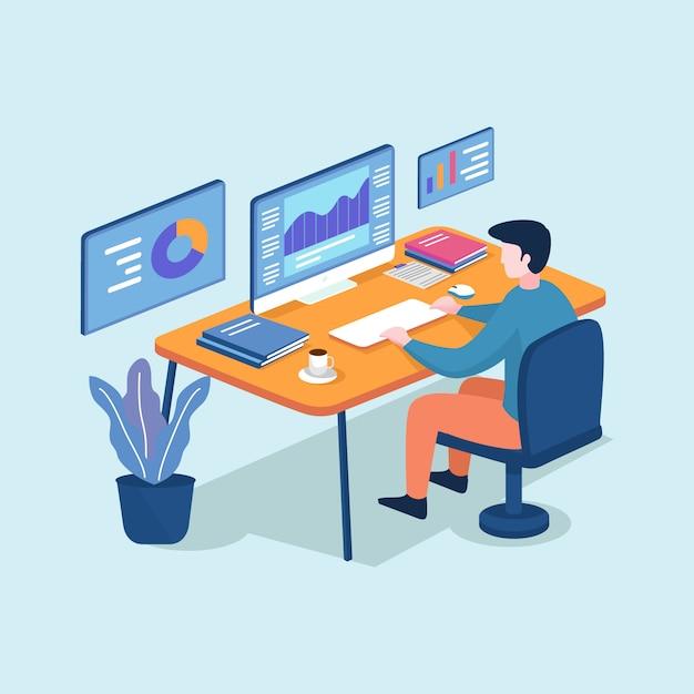 コンピュータープログラマー、ビジネス分析、デザイン、戦略に取り組んでいる等尺性の若い男 Premiumベクター