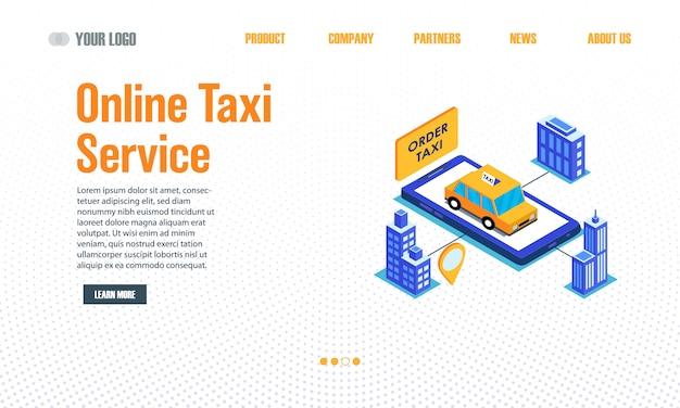 Целевая страница службы такси онлайн Premium векторы