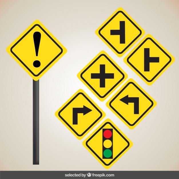黄色の道路標識 無料ベクター