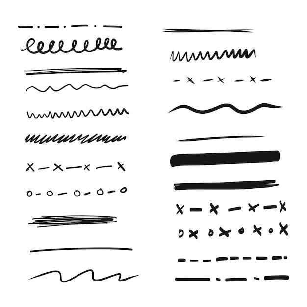 Набор рисованных линий и разделителей Бесплатные векторы