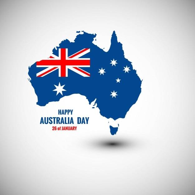 地図で満足オーストラリアデーのカード 無料ベクター