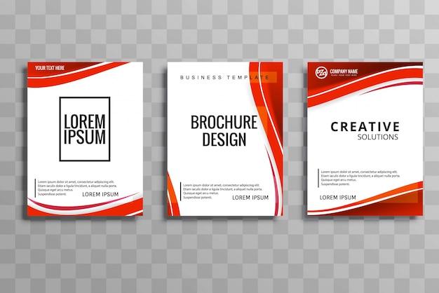 抽象的なウェーブビジネスパンフレットセットデザイン 無料ベクター