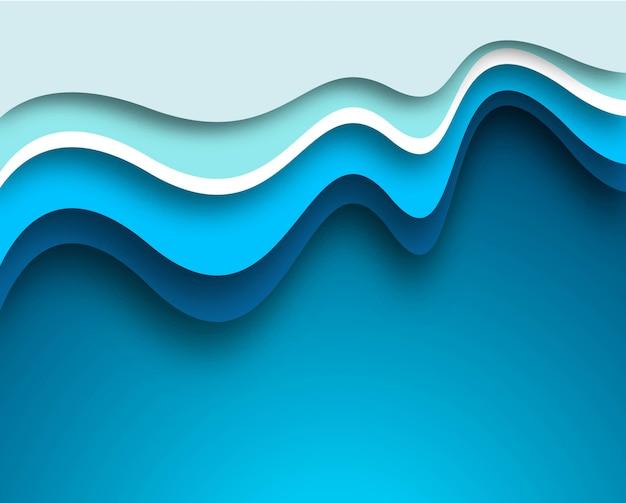 美しいクリエイティブな青い波の背景 無料ベクター