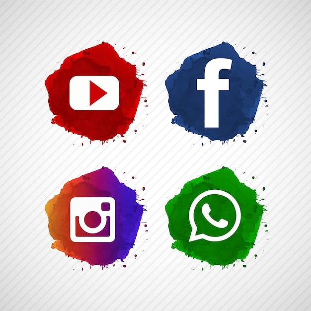 抽象的なソーシャルメディアアイコンのデザインを設定 無料ベクター