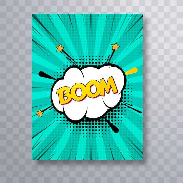 Бум-текст комиксов красочной брошюры поп-арт Бесплатные векторы