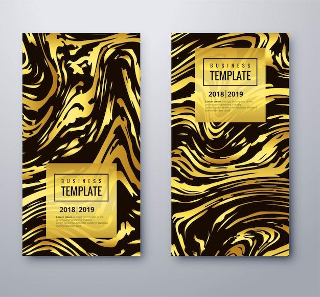 テクスチャデザインで設定されたエレガントなゴールデンビジネステンプレート 無料ベクター