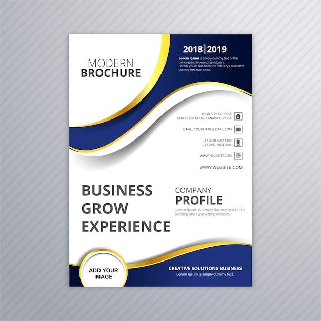 美しいビジネスパンフレットの波のテンプレートベクトル 無料ベクター