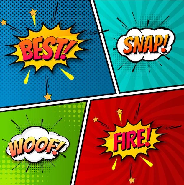 Красивый поп-арт красочный шаблон комиксов Бесплатные векторы